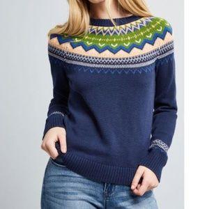 Modcloth Keeping Cozy Fair Isle Navy Sweater Sz L
